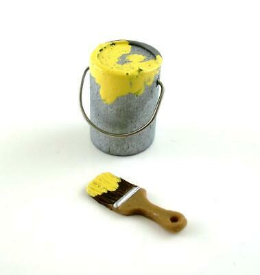 Dolls House Miniature Accessory Tools DIY Tin of Yellow Paint and Paint Brush