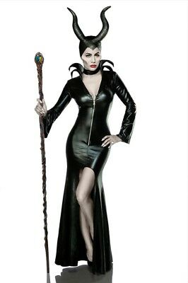 Costume Halloween Femminile Vestito Hot Nero Maleficent Collare Spacco Uy 80014
