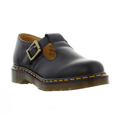 Dr Martens Polley Womens Black Leather T Bar School Work Shoes Size 4-9
