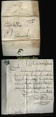 1801 NEWLANDS TO ALNWICK, LETTER OF JOHN DINNING, BELFORD 325 POSTMARK 6d CHARGE