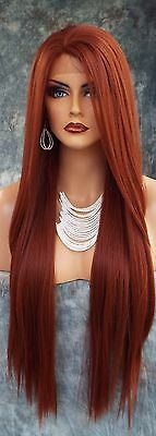 Long Straight Heat Safe Lace Front Wig  130 Red *gorgeous Sexy Usa Seller 161