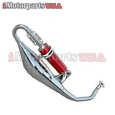 High Performance Muffler Exhaust Gy6 150Cc Scooter W/ Chrome Expansion Chamber