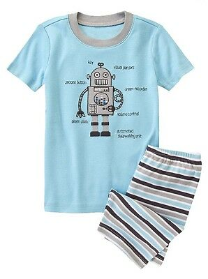 Gymboree Boys Gymmies Sleepy Robot Pajamas PJs Alarm Clock Blue Sz 4