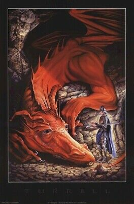DRAGON ART POSTER ~ KNIGHT OFFERING 24x36 Dragons Bleu Turrell