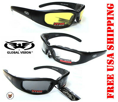 fb80abfe40d8 Global Vision Chicago Riding Glasses Vented Eva Foam Motorcycle Sunglasses