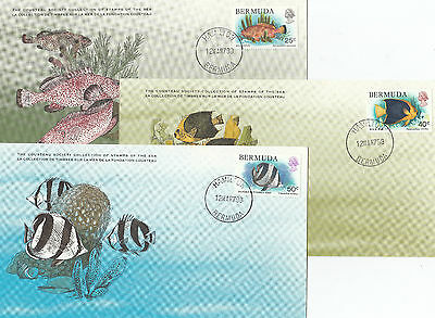 Stamps Bermuda fish set of 3 on Cousteu Society Collection cards first day
