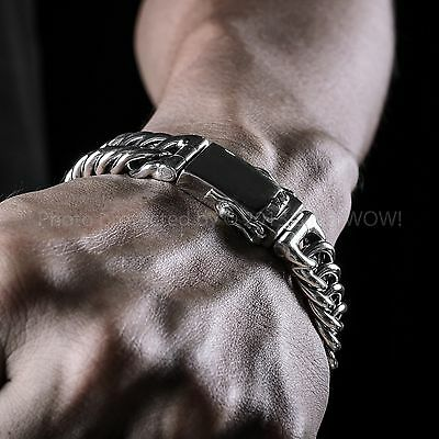 Mens Unusual Silver Bracelet - Hoop link Design - Solid 925 Sterling Silver