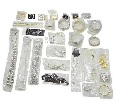 Parcel Of 50 Assorted Jewellery Pieces Metallic Anklets Necklaces Earrings Etc.