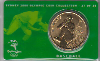 Coin Australia 2000 Olympic Games Sydney $5 proof issue Baseball on card