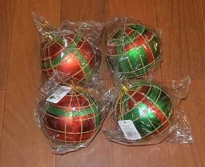 "Lot 4 Red Green Tartan Plaid Large 3.5"" Christmas Ornaments Unbreakable Glitter"