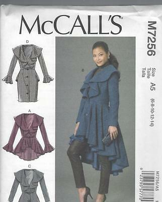 McCALL'S SEWING PATTERN MISSES' LINED COAT ZE 6 - 22 M7256