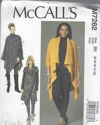McCALL'S SEWING PATTERN MISSES'/WOMEN'S SWEATER COATS & PONCHO SIZE 8-24W M7262