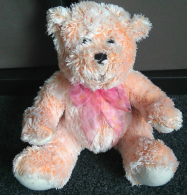 John Lewis Orange Pink Bear with Bow 8 inches tall Beanie bum Plush soft toy *
