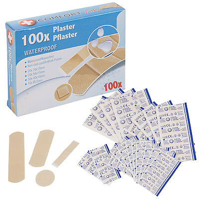 100 300 500 Waterproof Washproof Durable Plasters Assorted Pack Sizes First Aid