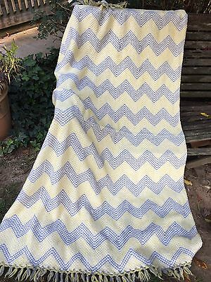 Vintage Yellow And Gray Chevron Blanket With Fringe