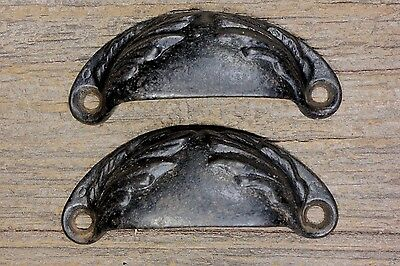 "2 Bin Drawer Pulls old door handles vintage paint 3 1/4"" rustic leaves ferns"