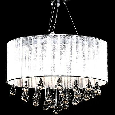White Organza Shade White Drum Glass Crystal Chandelier Lamp Pendant Lighting