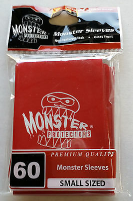 Monster Protector Sleeves RED Gloss 60 Small Sized PREMIUM QUALITY Yugioh