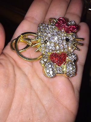 Hello Kitty Heaven Golden Rhinestone Bling Red Heart Bow 3D Keychain Purse Charm
