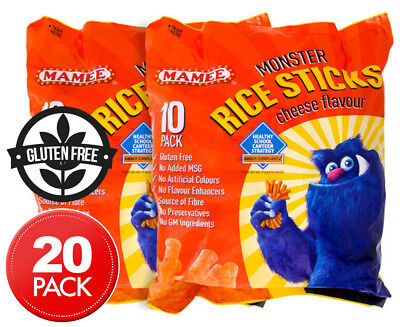 2 x Mamee Monster Rice Sticks Cheese 200g 10pk