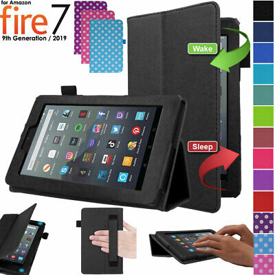 """Premium Leather Smart Case Cover & Stand for Amazon Fire 7"""" 9th Generation 2019"""