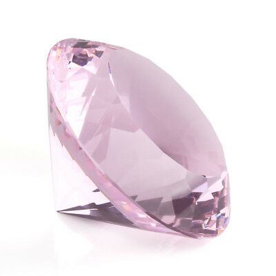 80mm Pink K9 Crystal Diamond Shape Paperweight Glass Gem Display Gift Ornament