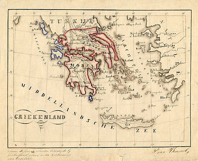 Antique Manuscript Map-EUROPE-GREECE-Van Bommel-1865