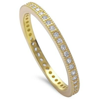 Yellow Gold Plated Cz Eternity Band .925 Sterling Silver Ring Sizes 4-10