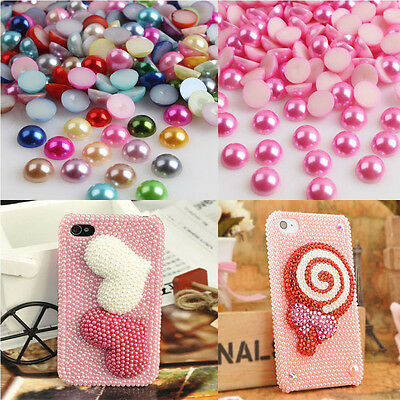Wholesale 2000pcs Half-round Flatback Acrylic Pearl Beads For Nail Art Phone Hot