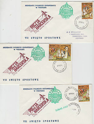 Australia 1971 Polish Scout group 3 covers Captain Cook stamps green cachets