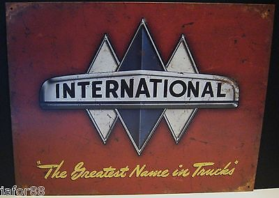 International, The Greatest Name In Trucks, Factory Antiqued Metal Sign, Apo Ok