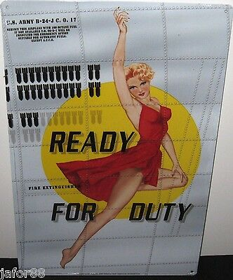 Ready For Duty, B-24 Nose Art Metal Sign,(Apo/fpo Ok)
