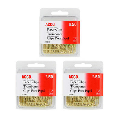 """NEW Acco Gold Tone Jumbo Paper Clips, 1-/34"""" Paper Clips, 150/Pack (72532)"""