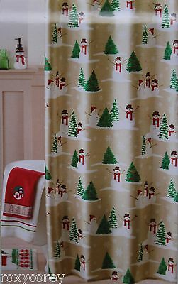 ST NICHOLAS SQUARE HOLIDAY CHEER SHOWER CURTAIN SNOWMAN PENGUINS NEW #11609