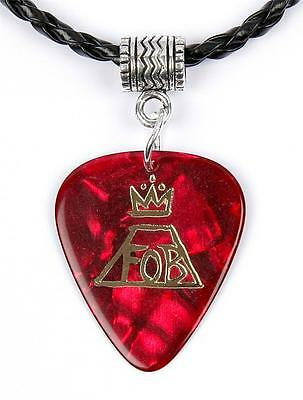 Fall Out Boy Red / Gold Logo Necklace Guitar Pick Plectrum Black Twist Cord