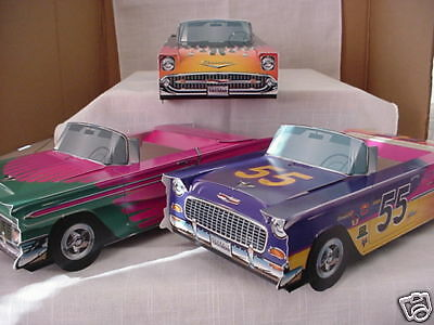 6 Hot Rod Chevy Cardboard Car Food Box Kids Tray Party Favor + Mooneyes Decals