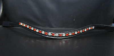 BLING!*Leather Sparkly Browband*BIG 6mm Crystals* Red White * All sizes