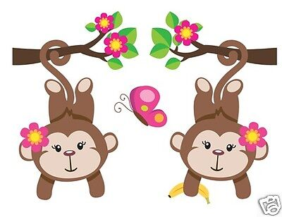 Monkey Decal Mural Wall Art Stickers Jungle Safari Zoo Animal Baby Girl Nursery