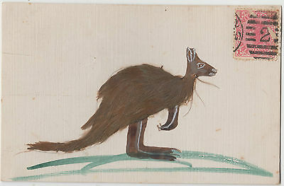 Postcard home drawn with real feathers Kangaroos Victoria Australia 1d stamp
