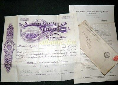 1912 SOUTHERN ALBERTA LAND CO Share Certificate & Paperwork sent 1917