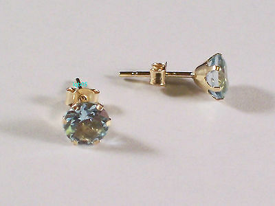 New Boxed Ladies 9ct Yellow Gold Blue Topaz Studs Earrings 5mm Hallmarked