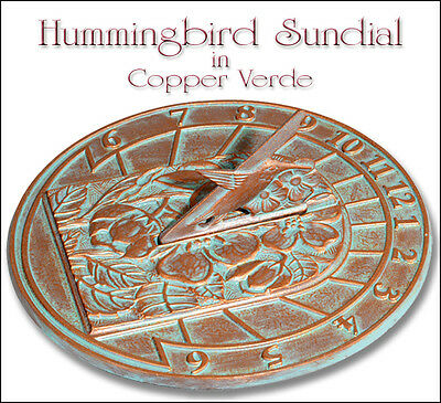 Whitehall Hummingbird Sundial Copper Verdi  - Great Gift for Garden or Home
