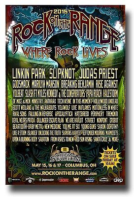 Rock on The Range Flyer - Concert Poster SlipKnot Judas Priest Linkin Park 2015