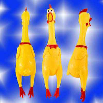 17CM Yellow Screaming Rubber Chicken Pet Dog Toy Squeak Squeaker Chew Gift IL