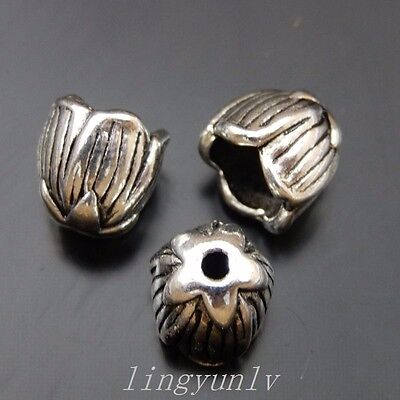 50 Pieces Antiqued Silver Color 8x7mm Jewelry Bead Caps Pendant Findings 39837