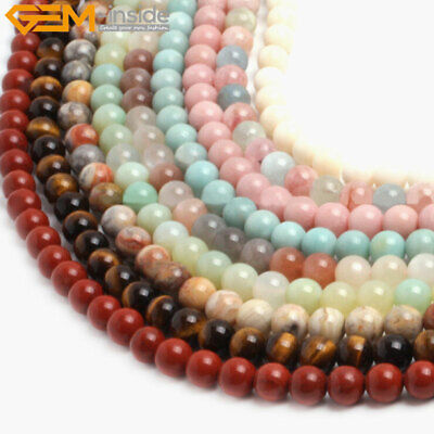 Round 10mm Smooth Gemstone Jewelry Making Loose Beads,Various Material Select