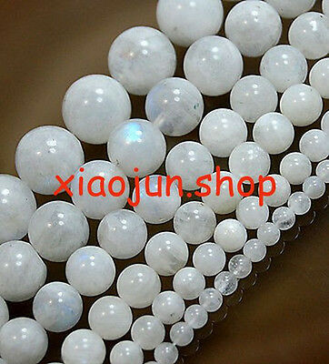 "GENUINE 6,8,10,12mm Moonstone Loose Beads 15"" Choose  Size"