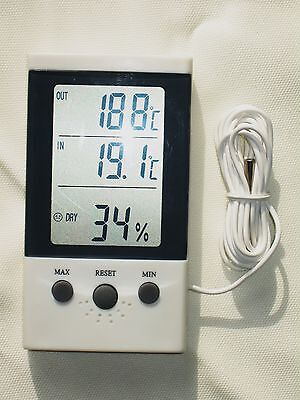 Indoor/Outdoor Digital Thermometer Hygrometer LCD Display Celsius Home/Office