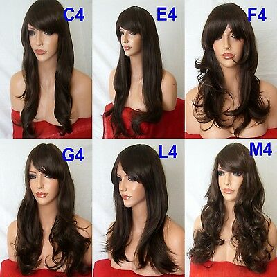 Medium BROWN Curly Layered WOMEN LADIES FASHION HAIR WIG Fancy dress wigs #4