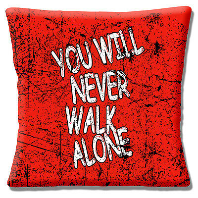 """Liverpool FC Football Anthem Cushion Cover 16""""x16"""" 40cm Red Grunge Mottled"""